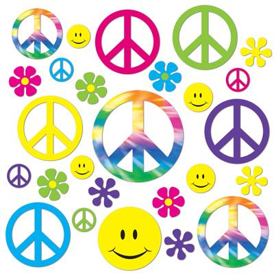 60's Retro Peace & Smiley Faces Cutouts