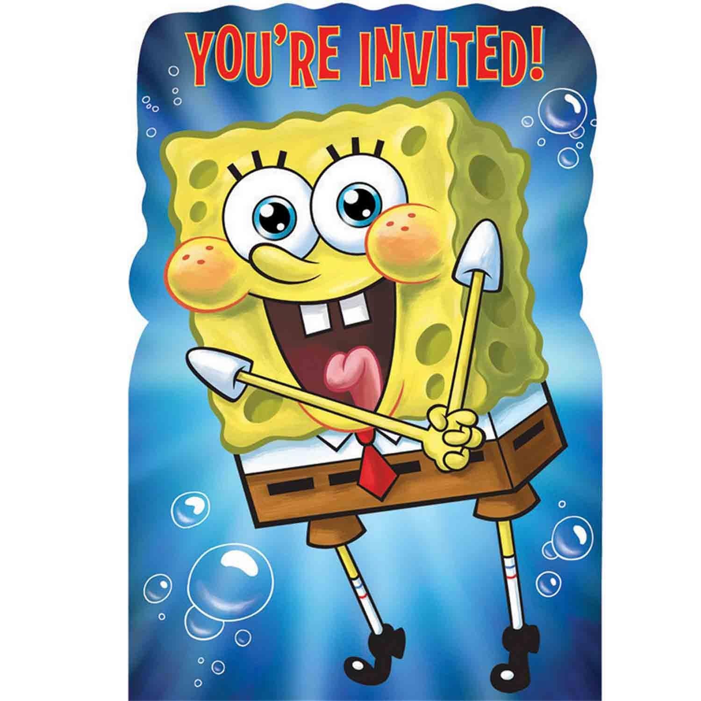 Spongebob Party Postcard Invitations