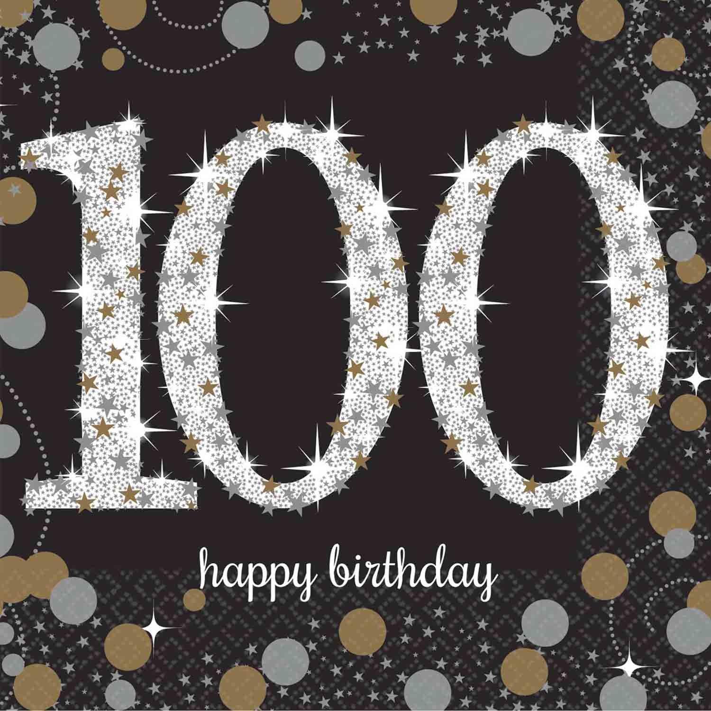 Sparkling Celebration Happy Birthday Beverage Napkins 100th