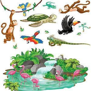 Jungle Tropical Animals Wall Decorations Insta-Theme Props