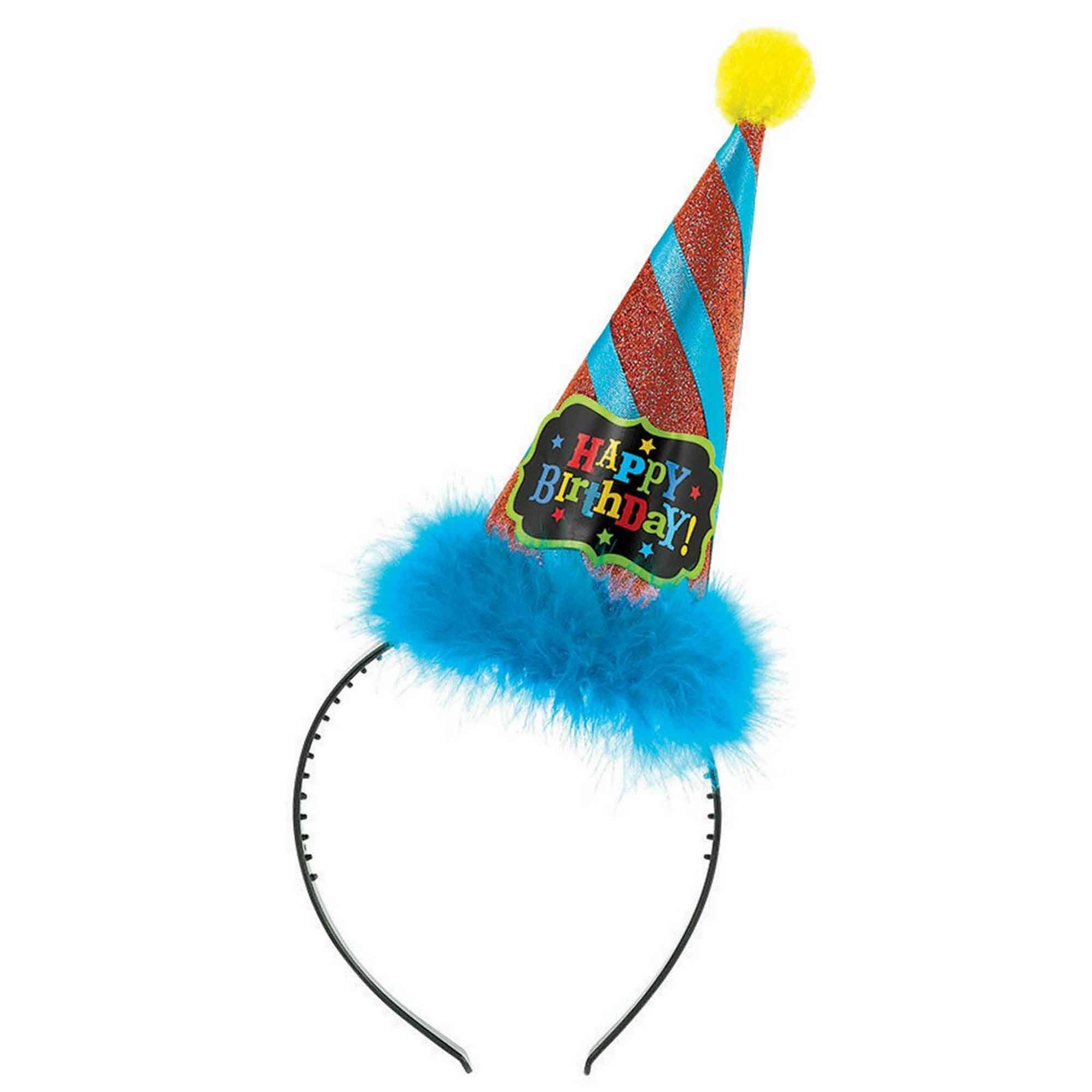 Birthday Brights Cone Hat Headband Fabric Ruffle