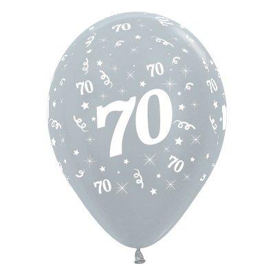 Sempertex 30cm Age 70 Satin Pearl Silver Latex Balloons, 6PK