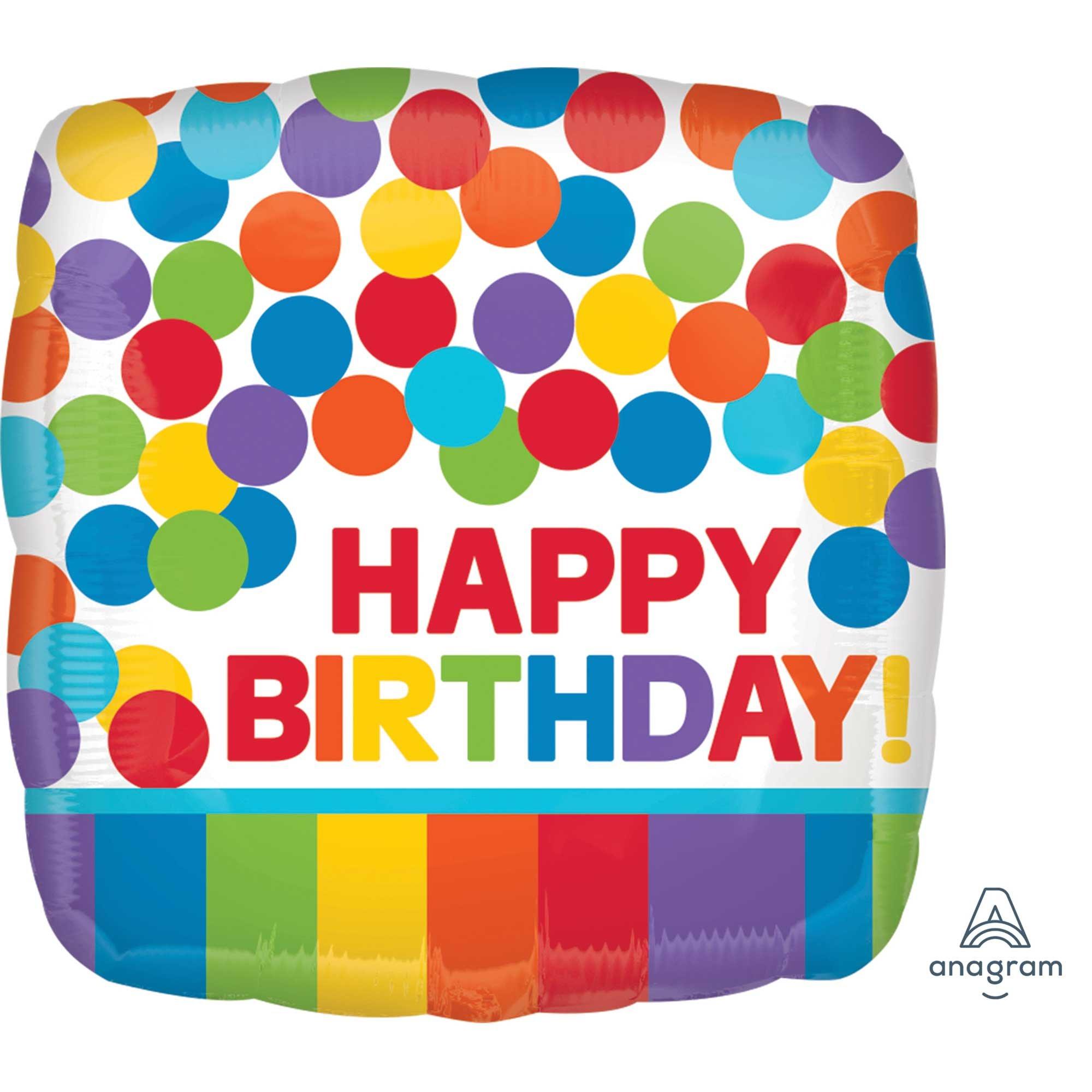 45cm Standard HX Primary Rainbow Happy Birthday S40