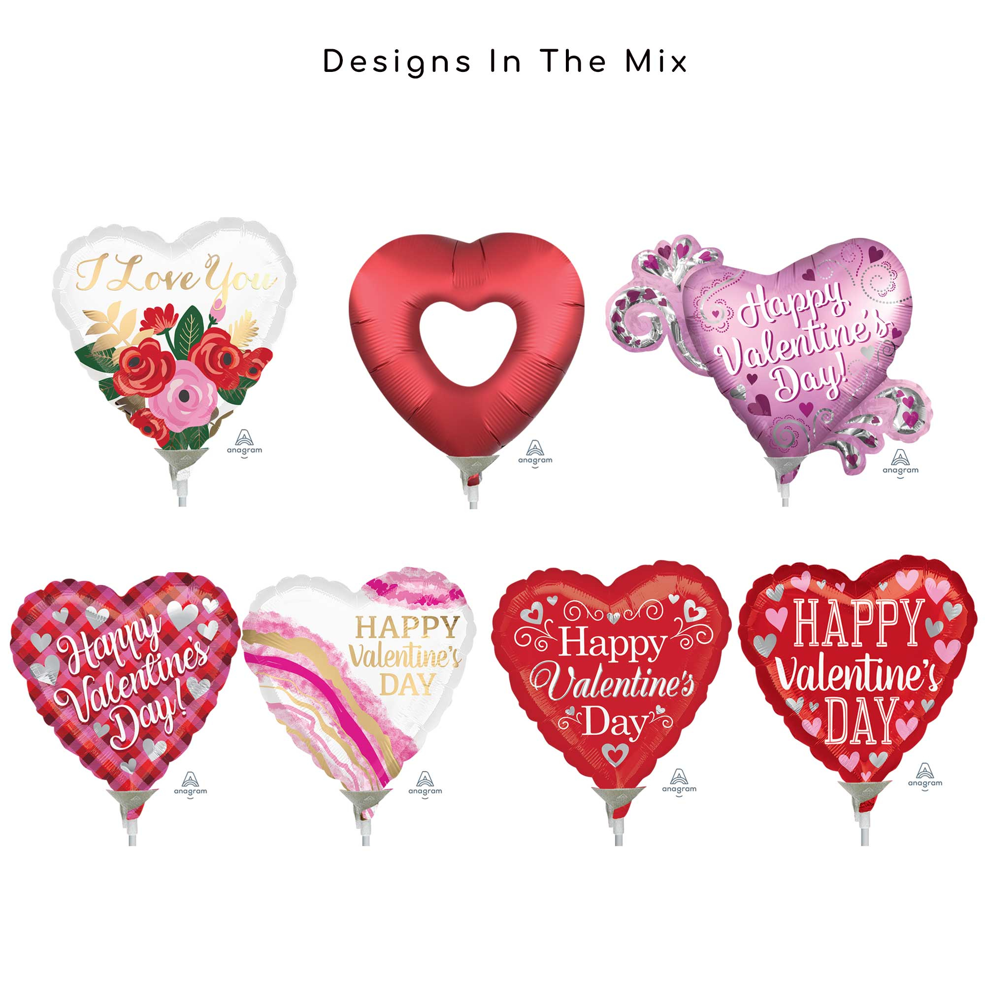 9in/23cm & Mini Shape - Valentines Foil Balloon Mix Contains 20 Balloons, pre-inflated with Sticks & Cups