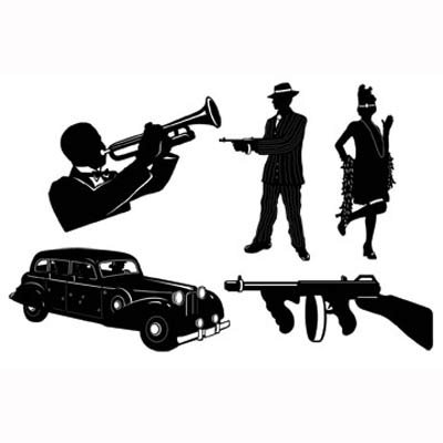 20's Gangster Themed Black Silhouettes Cutouts