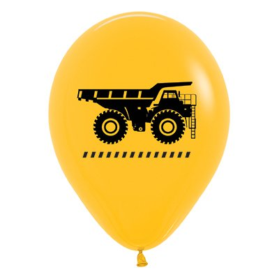 Sempertex 30cm Construction Trucks Fashion Yellow Latex Balloons, 25PK