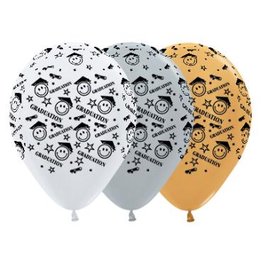 Sempertex 30cm Graduation Smiley Faces Satin White, Silver & Metallic Gold Latex Balloons, 25PK