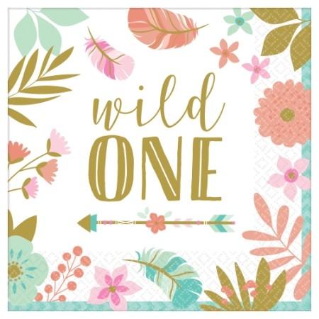 Boho Birthday Girl Lunch Napkins - Wild One