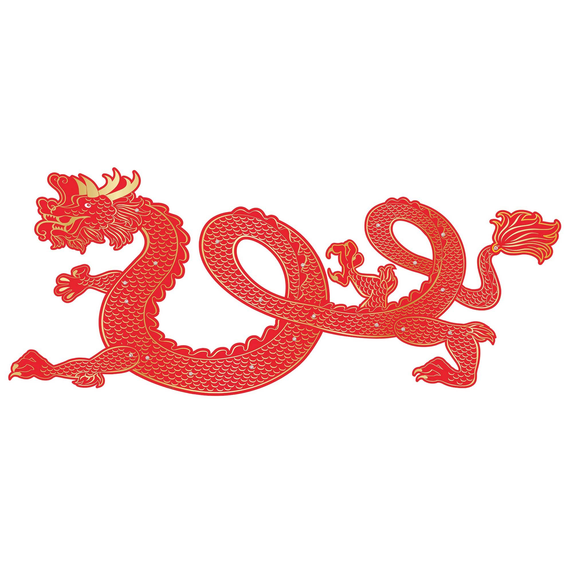 Chinese New Year Dragon Jointed Cut Out Foil Hot Stamped