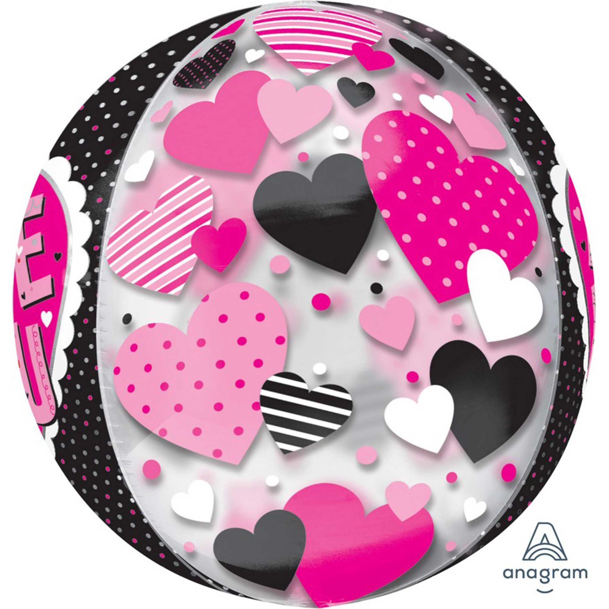 Orbz XL Love You Black & Pink Hearts Multi-Film G20