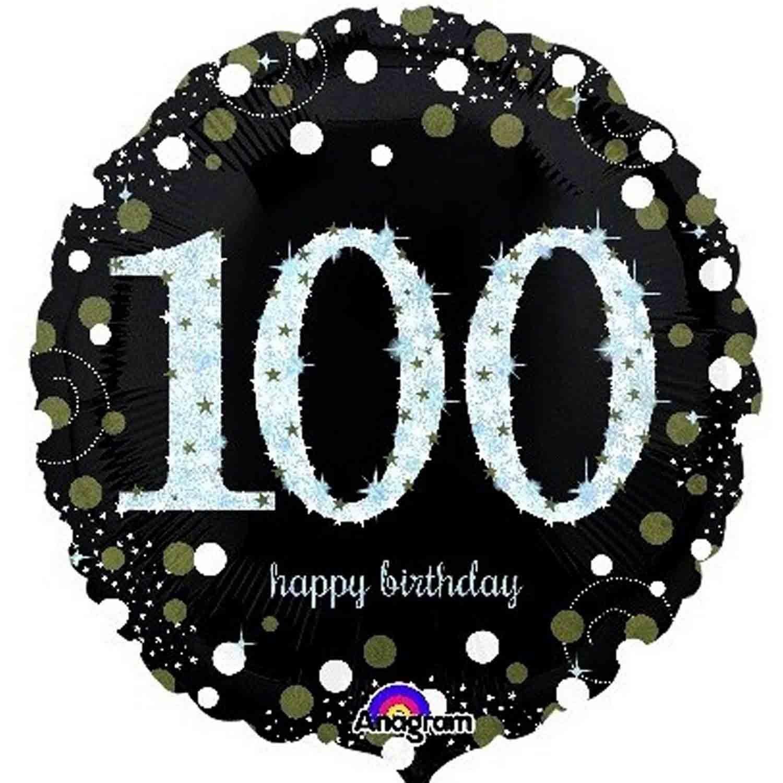 45cm Standard Holographic Sparkling Birthday 100 S55