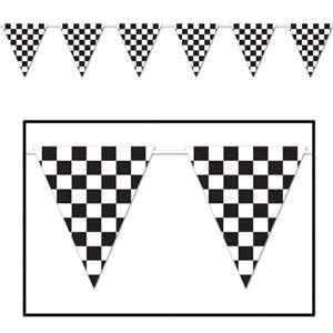 Pennant Flag Banner Large Black & White Checkered