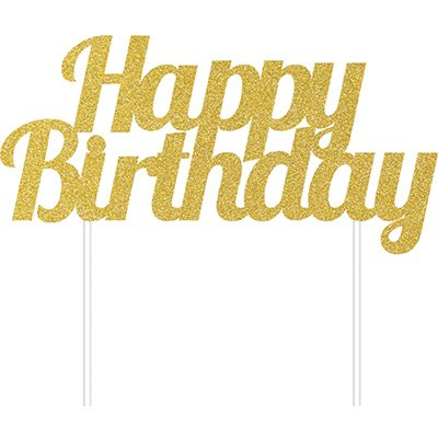 Cake Topper Happy Birthday Gold Glittered