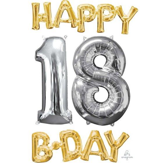 CI: Bunch Happy 18 Birthday Gold & Silver P75
