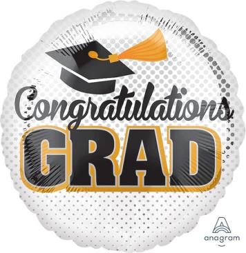 45cm Standard Congratulations Grad Silver Dots S40