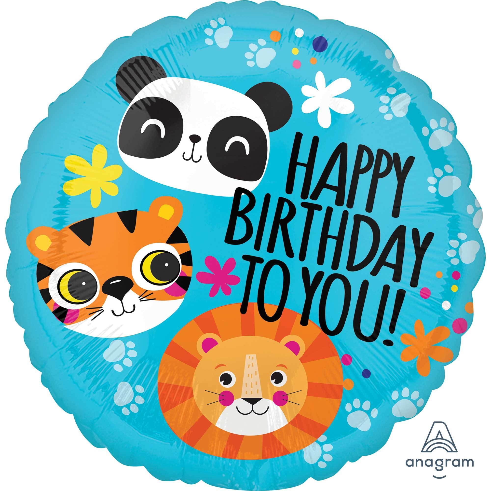 45cm Standard HX Lion, Tiger and Panda Happy Birthday To You S40