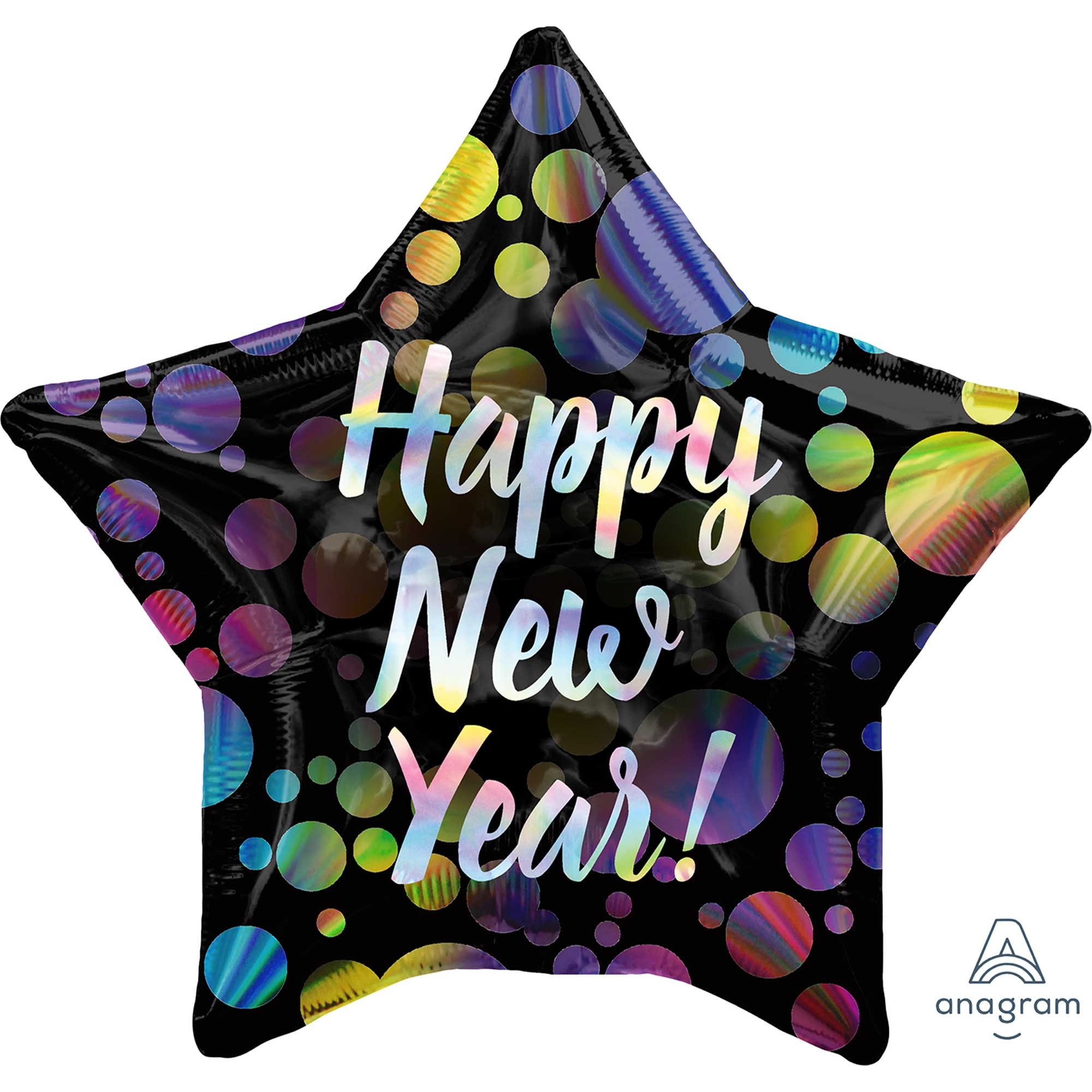 45cm Standard Holographic Iridescent Happy New Year Bubbles Star S55