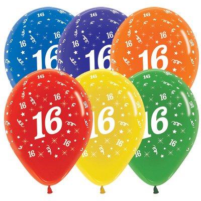 Sempertex 30cm Age 16 Crystal Assorted Latex Balloons, 25PK