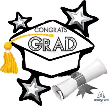 SuperShape XL Congrats Grad Hat White Cluster P40