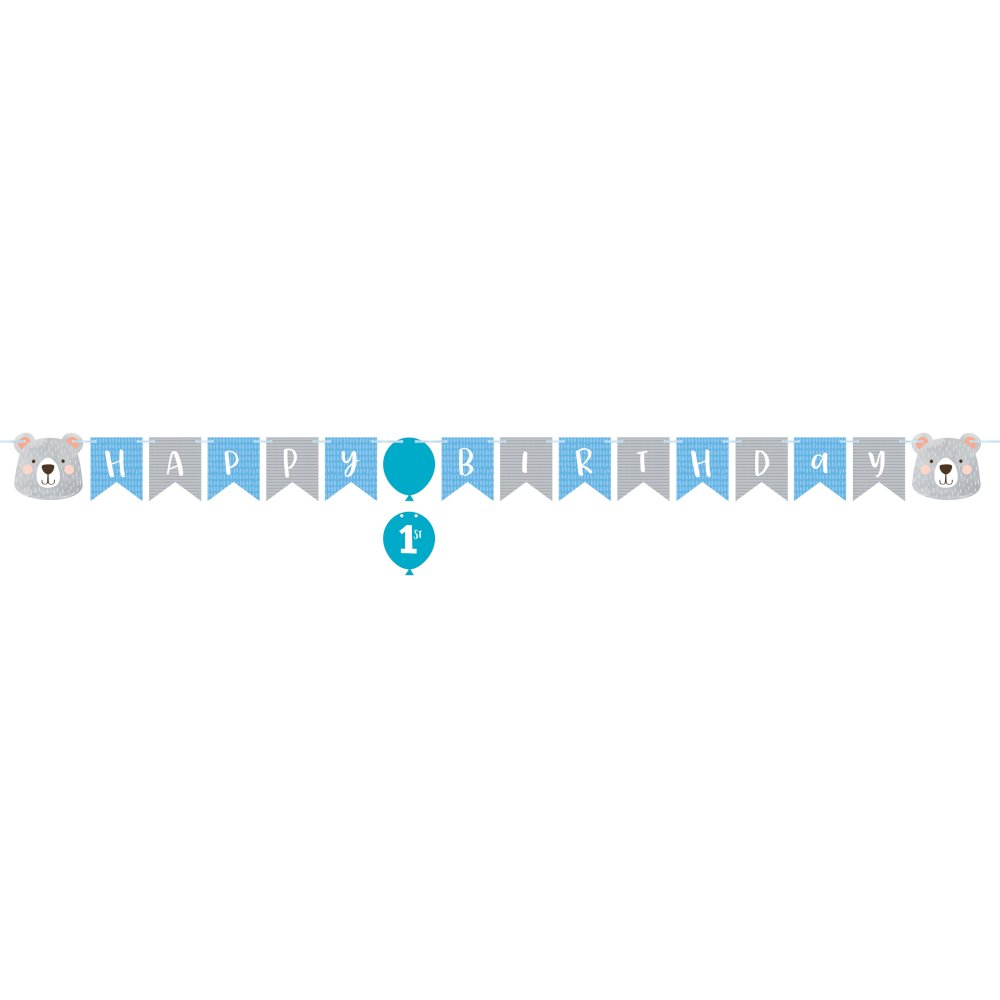 1st Birthday Bear Shaped Ribbon Banner & 1st Attachment