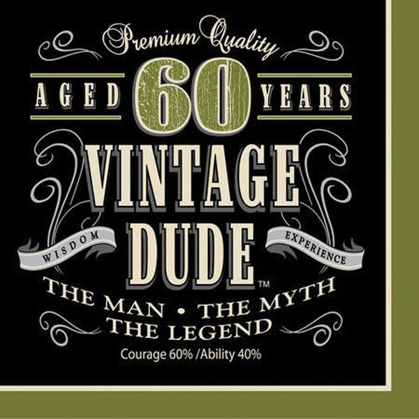 Vintage Dude 60th Birthday Lunch Napkins