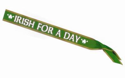 Irish For A Day & Shamrocks Satin Sash