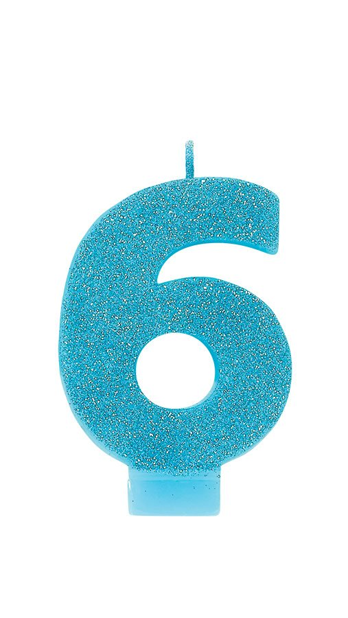 Candle Numeral Glitter #6 Caribbean Blue