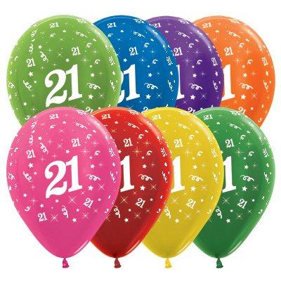 Sempertex 30cm Age 21 Metallic Assorted Latex Balloons, 25PK