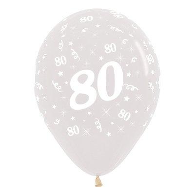 Sempertex 30cm Age 80 Crystal Clear Latex Balloons, 6PK