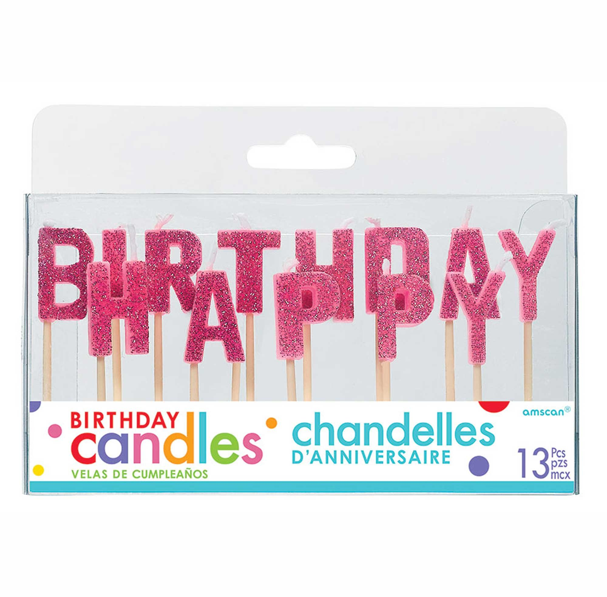 Happy Birthday Pick Candles - Pink
