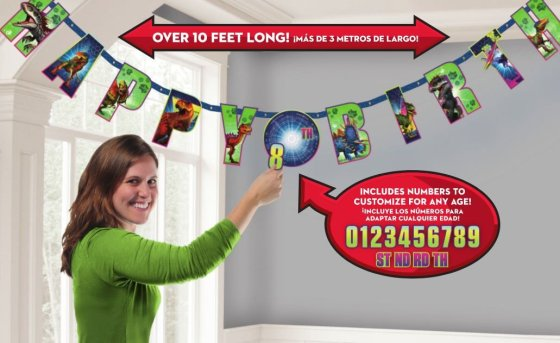 Jurassic World Jumbo Add-An-Age Letter Banner - Printed Paper