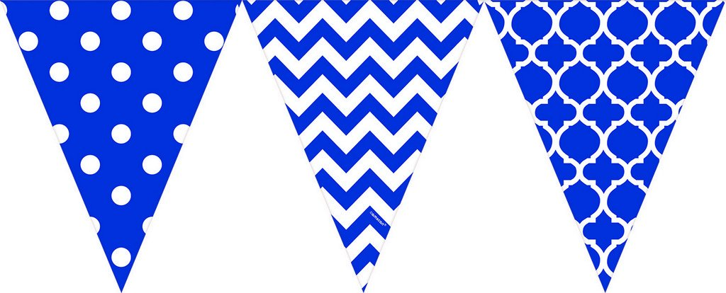 Pennant Banner Large Printed Plastic Bright Royal Blue