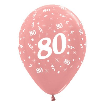 Sempertex 30cm Age 80 Metallic Rose Gold Latex Balloons, 6PK