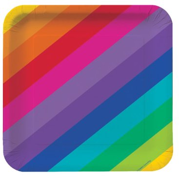 Rainbow Lunch Plates Square Paper