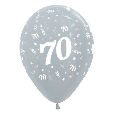 Sempertex 30cm Age 70 Satin Pearl Silver Latex Balloons, 25PK