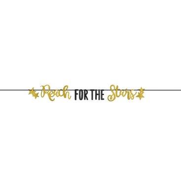 Grad Reach for the Stars Letter Banner Gold Glitter
