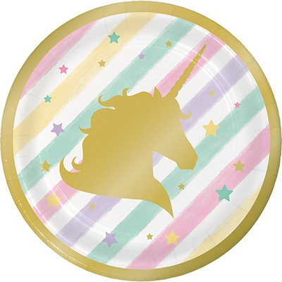 Unicorn Sparkle Lunch Plates Paper & Gold Foil Stamped 18cm