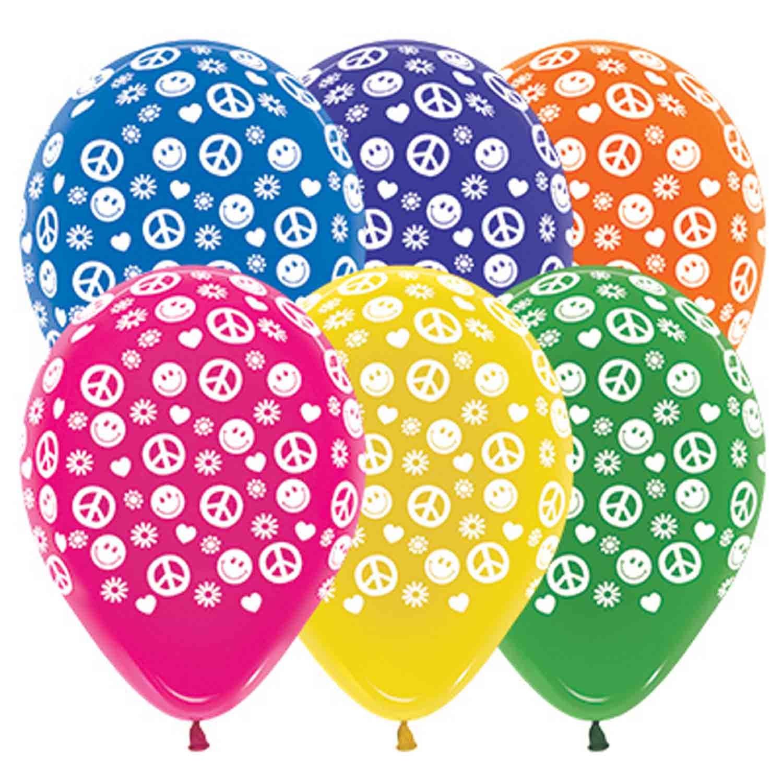 Sempertex 30cm Peace & Love Crystal Assorted Latex Balloons, 25PK