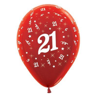Sempertex 30cm Age 21 Metallic Red Latex Balloons, 25PK