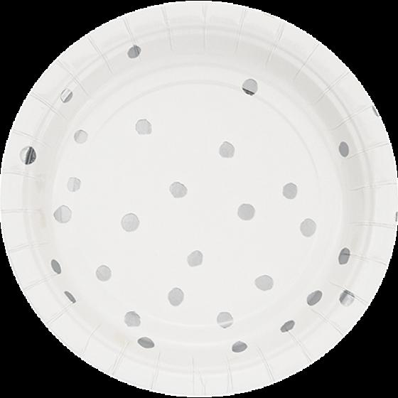 Touch of Colour White & Silver Foil Dots Lunch Plates Paper 18cm