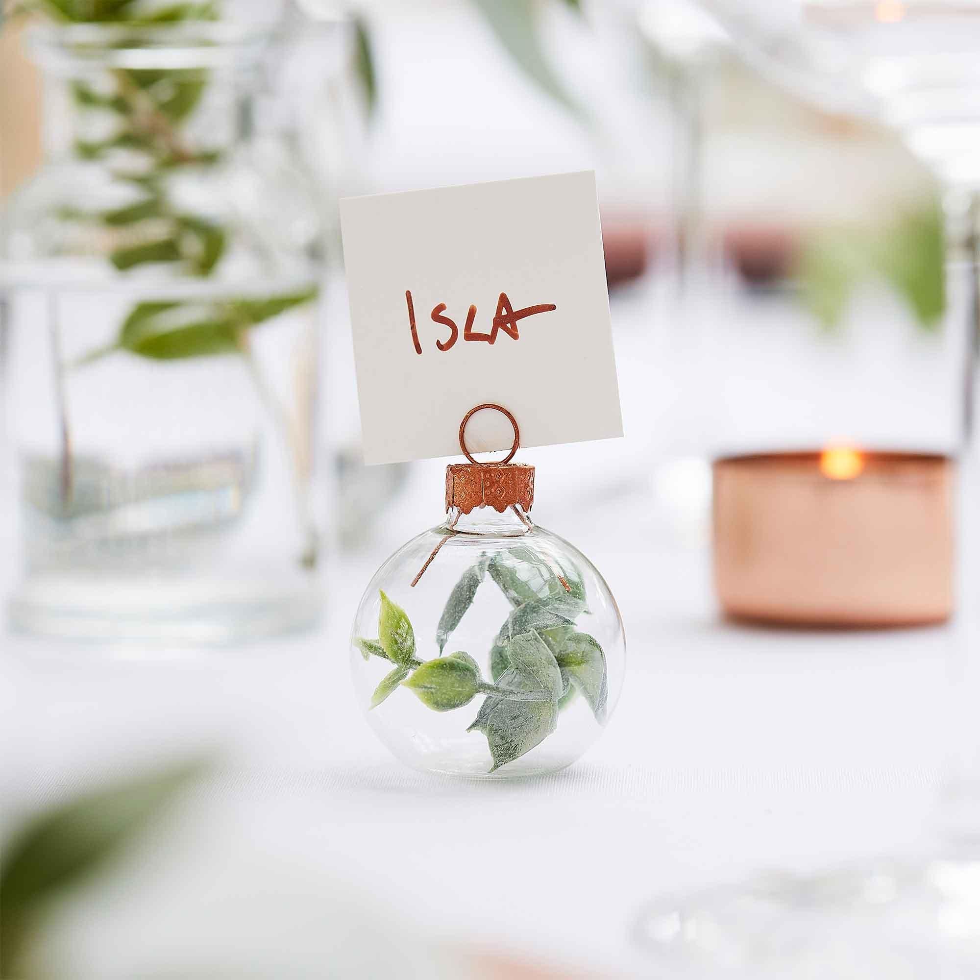 Botanical Wedding Eucalyptus Bauble Place Card Holder With White Place Cards