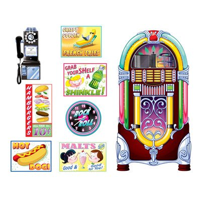 50's Soda Shop Signs & Jukebox Wall Decorations Insta-Theme Props