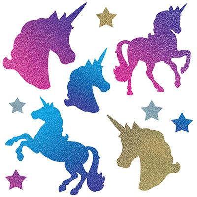 Unicorns & Stars Holographic Glittered Cutouts