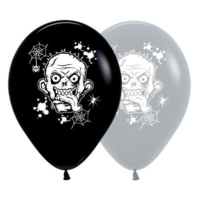 Sempertex 30cm Zombie Horror Fashion Black & Grey Latex Balloons, 25PK