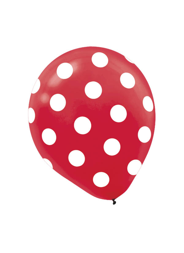 30cm Latex Balloon  Dots Red