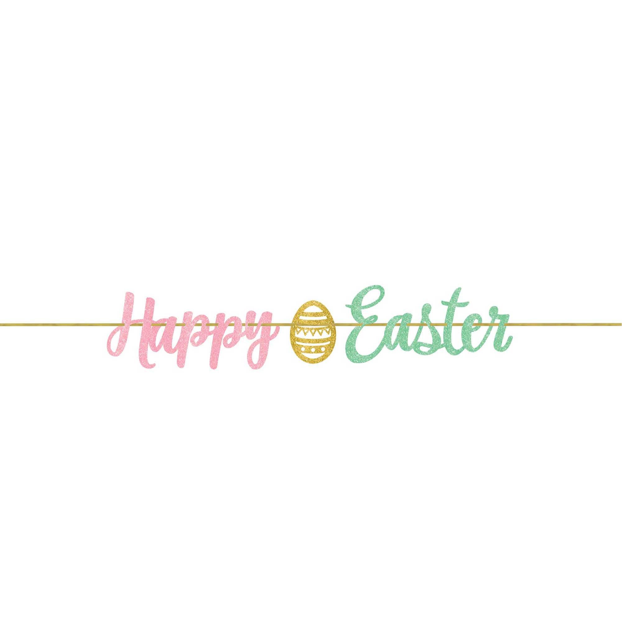 Happy Easter Script Ribbon Banner Glittered