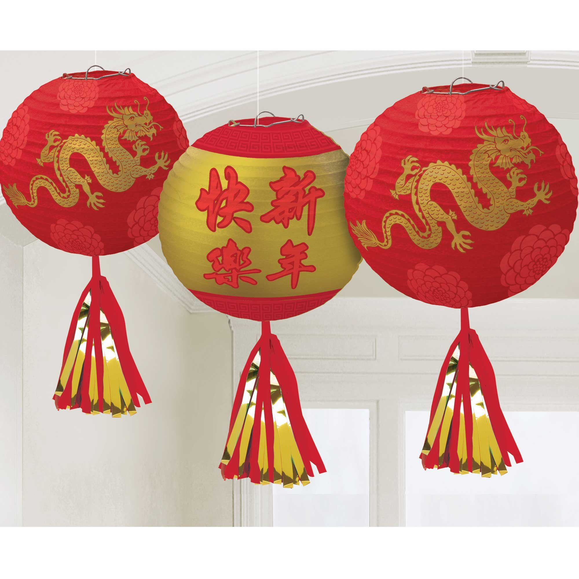 Chinese New Year Deluxe Paper Lanterns & Tassels Foil Hot Stamped