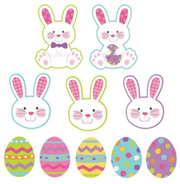 Easter Mini Eggs & Bunny's Assorted Cutouts Glittered