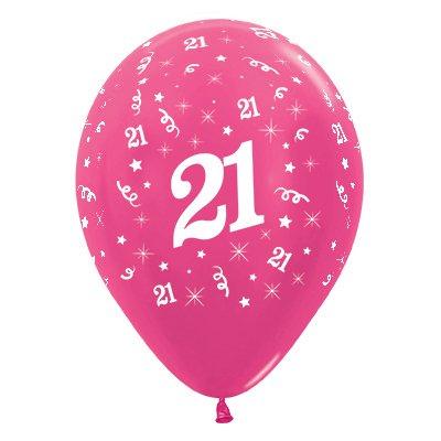 Sempertex 30cm Age 21 Metallic Fuchsia Latex Balloons, 6PK