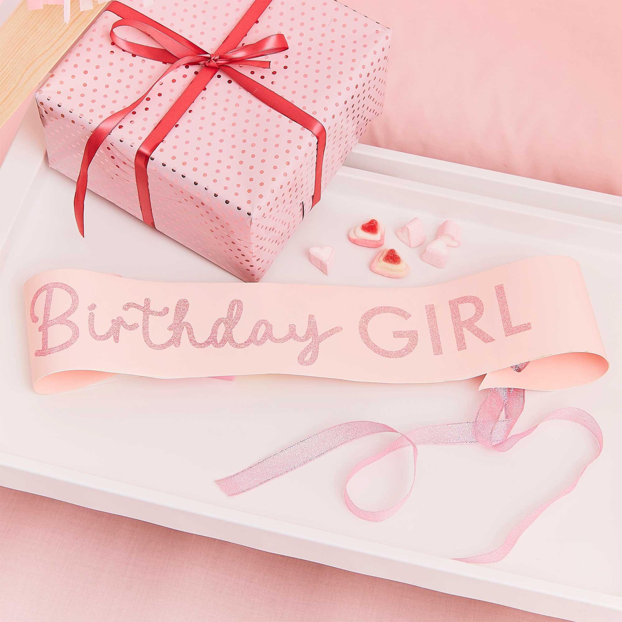 Pamper Party Pink Glitter Birthday Girl Sash